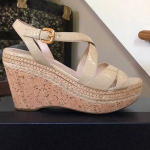 "Prada Espadrilles 37 1/2, 3 1/2"" Heel ivory Patent"